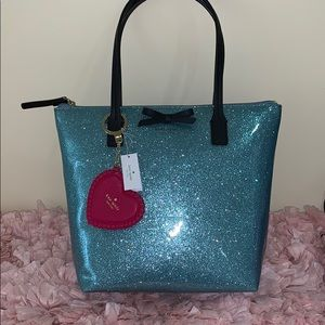 Kate Spade ♠️ blue sparkly tote and bag charm nwt